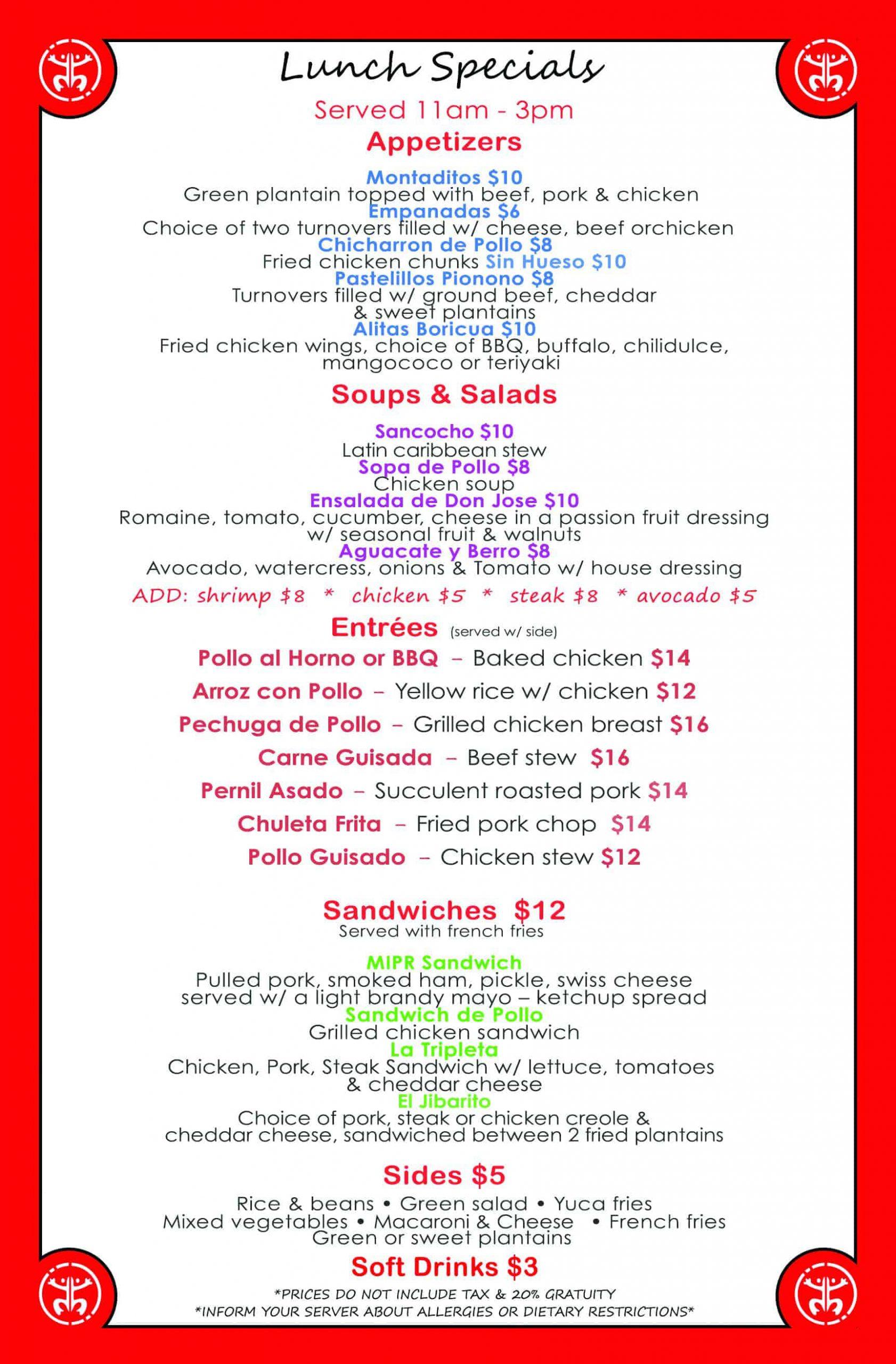 MIPR Lunch Specials